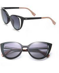b6acf17ecc0 Fendi Zig-zag 52mm Cat Eye Sunglasses - Black in Blue - Lyst