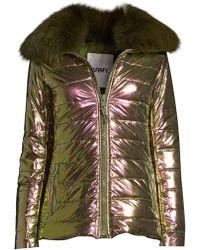 02a9a3f5bcb Army by Yves Salomon - Women s Doudoune Fox Fur Collar Metallic Puffer  Jacket - Irridescent -