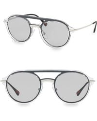 Prada - 51mm Linea Rossa Oval Aviator Sunglasses - Lyst