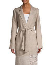 Lafayette 148 New York - Women's Demarius Linen-blend Wrap Topper - Jute - Size Xl - Lyst