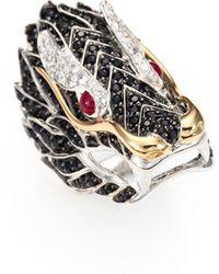 John Hardy - Naga Black Sapphire, Ruby, 18k Yellow Gold & Sterling Silver Dragon Ring - Lyst