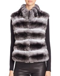 Saks Fifth Avenue - Quilted Chinchilla Fur Vest - Lyst