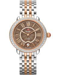 Michele Watches - Serein Diamond, Enamel, & Two-tone Stainless Steel Bracelet Watch - Lyst