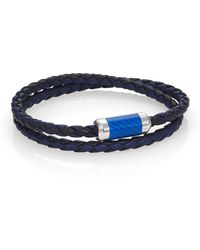 Tateossian - Leather, Carbon Fiber & Sterling Silver Bicolor Braided Bracelet - Lyst