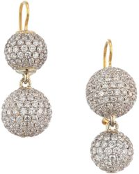 Renee Lewis Women's 18k Yellow Gold & Pavé Diamond Sphere Drop Earrings - Diamond