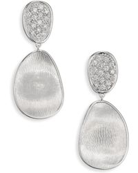 Marco Bicego - Lunaria Small Diamond & 18k White Gold Double-drop Earrings - Lyst