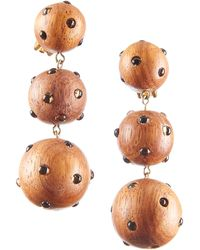 Rebecca de Ravenel - Wood & Glass Three-drop Earrings - Lyst