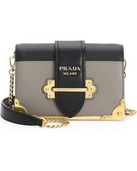 63d07a8bd057 Prada - Women's Small Cahier Leather Crossbody Bag - Mughetto - Lyst