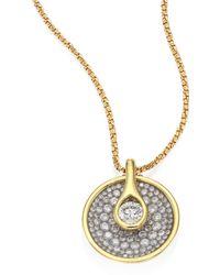 Plevé - Opus Diamond & 18k Yellow Gold Round Pendant Necklace - Lyst