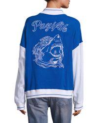 Koza - Colorblock Shark Graphic Varsity Jacket - Lyst