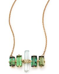 Jacquie Aiche - Green Tourmaline, Aquamarine 14k Yellow Gold Aura Bar Pendant Necklace - Lyst