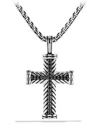 David Yurman - Chevron Cross With Black Diamonds - Lyst