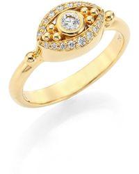 Temple St. Clair - Mini Evil Eye Diamond & 18k Yellow Gold Ring - Lyst