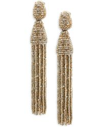 Oscar de la Renta | Long Beaded Tassel Clip-on Earrings | Lyst