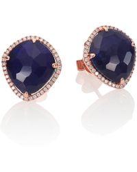 Meira T - Sodalite, Diamond & 14k Rose Gold Stud Earrings - Lyst