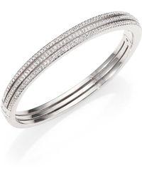 Adriana Orsini - Pavé Crystal Three-row Bangle Bracelet/silvertone - Lyst