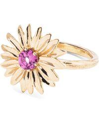 Aurelie Bidermann - 18k Yellow Gold Rhodolite Garnet Floral Ring - Lyst