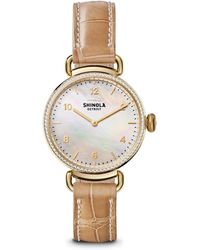 Shinola - Canfield Diamond, Mother-of-pearl, Goldtone Stainless Steel & Alligator Strap Watch - Lyst