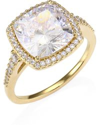 Adriana Orsini - 18k Gold Sterling Silver Framed Square Ring - Lyst