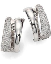 Roberto Coin - Scalare Diamond & 18k White Gold Huggie Earrings - Lyst