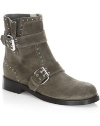Jimmy Choo - Blyss Studded Suede Flat Booties - Lyst