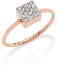 Ginette NY - Baby Diamond Ever 18k Rose Gold Square Ring - Lyst
