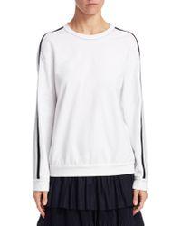 Brunello Cucinelli | Striped Sleeve Crew Sweater | Lyst