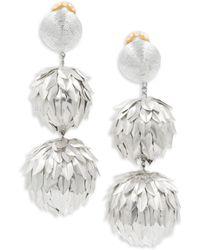 Rebecca de Ravenel | Metal Petal Drop Earrings | Lyst