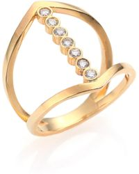 Zoe Chicco - Diamond & 14k Yellow Gold Cross Ring - Lyst