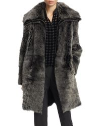 Emporio Armani - Reversible Long-haired Shearling Coat - Lyst