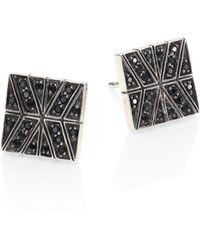 John Hardy - Modern Chain Black Sapphire & Sterling Silver Stud Earrings - Lyst