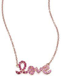 Sydney Evan - Love Ombre Ruby, Multicolor Sapphire & 14k Rose Gold Pendant Necklace - Lyst