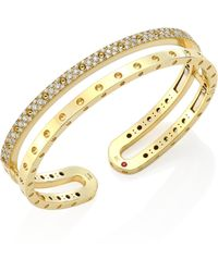 Roberto Coin - Symphony Pois Mois 18k Yellow Gold Double Bangle - Lyst