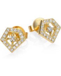 Ron Hami - Orighami Pave Diamond & 18k Yellow Gold Stud Earrings - Lyst