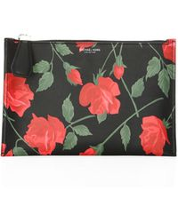Michael Kors - Large Rose-print Leather Pouch - Lyst