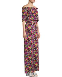 Saloni - Juli Floral Off-the-shoulder Silk Jumpsuit - Lyst