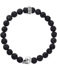 King Baby Studio - Lava Rock Sterling Silver Skull Beaded Bracelet - Lyst