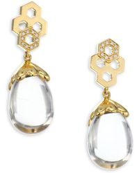Temple St. Clair - 18k Gold & Diamond Pavé Beehive Amulet Earrings - Lyst