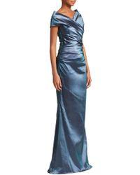 abebf28ca7a2 Lyst - Teri Jon Illusion Ball Gown in Blue