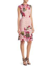 Monique Lhuillier - Floral Print Dress - Lyst