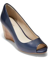 Cole Haan - Sadie Open Toe Leather Wedge Pumps - Lyst
