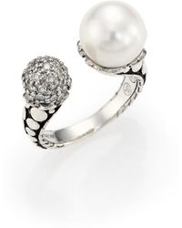 John Hardy - Dot 11mm White Pearl, Diamond & Sterling Silver Wrap Ring - Lyst
