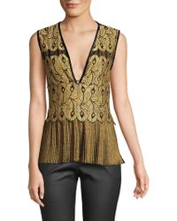 Yigal Azrouël - Golden Lace Pleat Top - Lyst