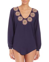 OndadeMar - Embroidered Dancing Blue Blouse - Lyst