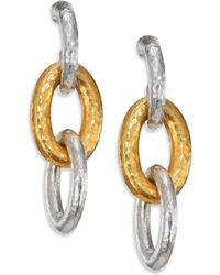 Gurhan - Hoopla 24k Yellow Gold & Sterling Silver Galahad Long Drop Hoop Earrings - Lyst