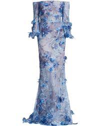Marchesa notte - Women's Bishop Off-the-shoulder Gown - Light Blue - Lyst