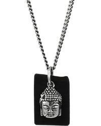 King Baby Studio - Sterling Silver & Leather Meditating Buddha Pendant Necklace - Lyst