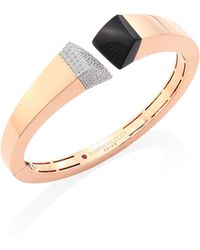 Roberto Coin - Prive Pave Diamond, Black Jade & 18k Rose Gold Bangle - Lyst