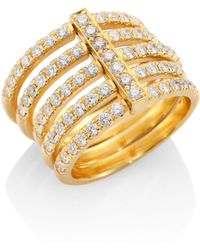 Carelle - Moderne Pave Diamond & 18k Yellow Gold Penta Midi Ring - Lyst