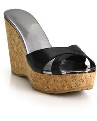 Jimmy Choo - Perfume 100 Leather & Cork Platform Wedge Sandals - Lyst